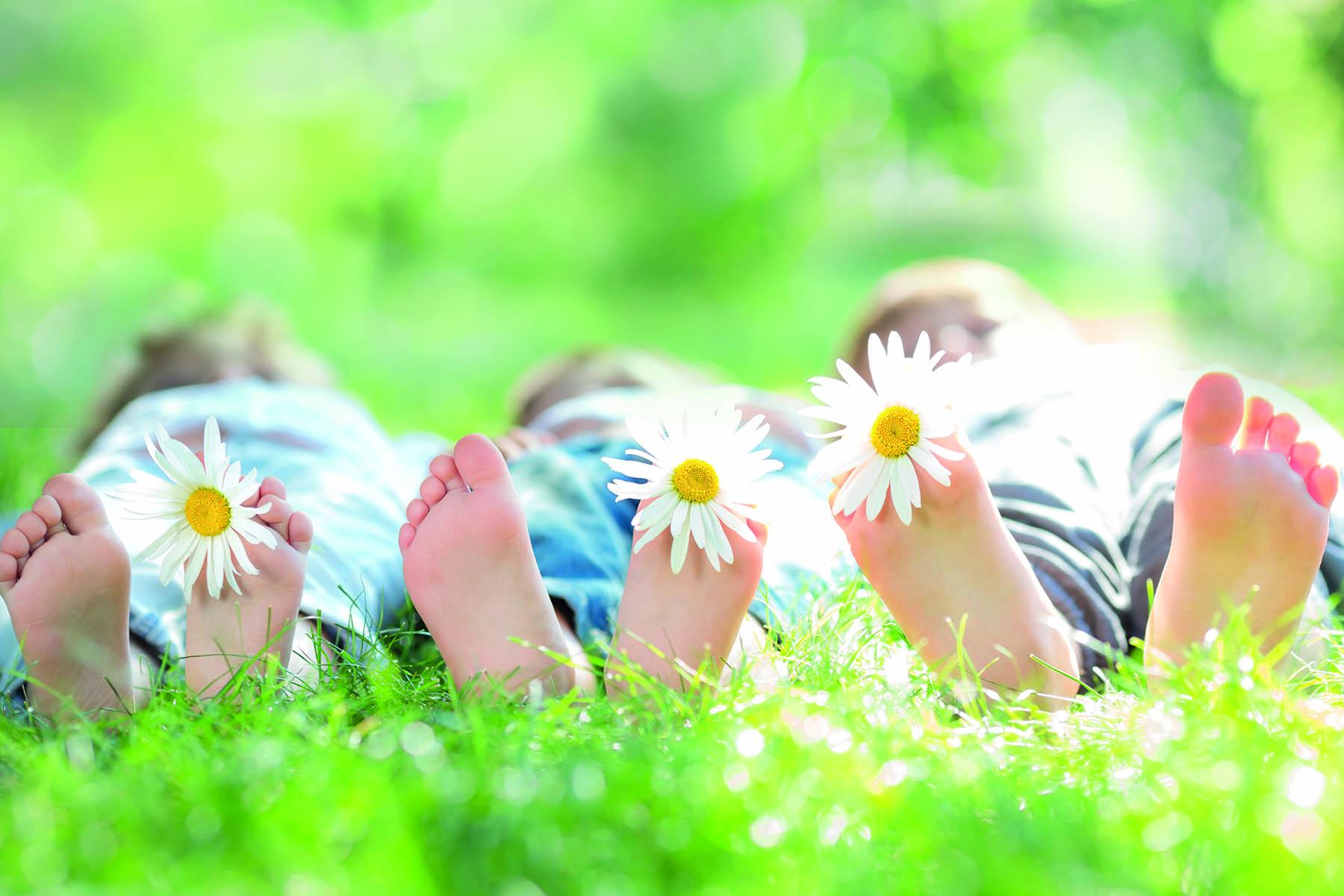 Tre par barnfötter i ett sommargräs